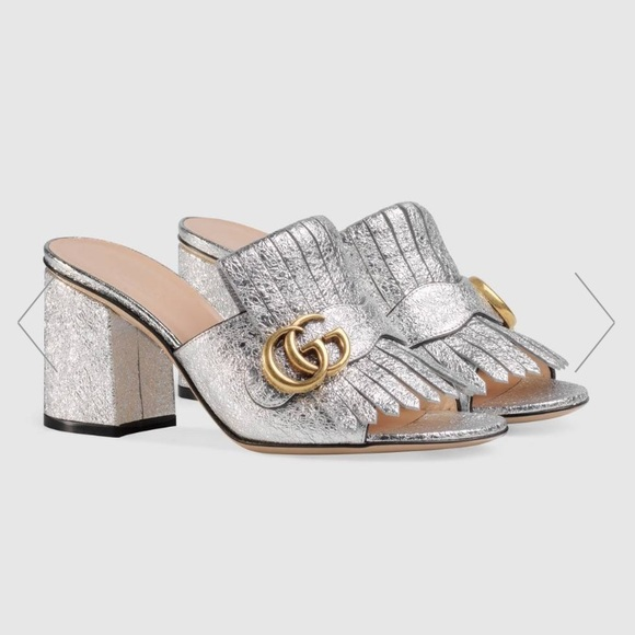 6e0e97363ba3 Gucci Shoes - Gucci Marmont metallic leather mid heel slide